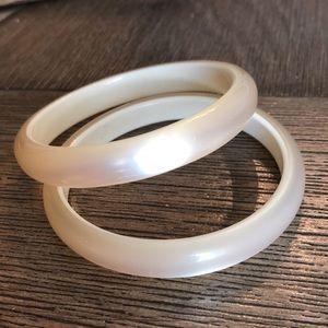 Vintage White Pearl Moonglow Bangle Bracelets